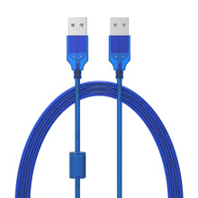New USB2.0 Extension Cable Male to Male USB Adapter Transparent Blue Anti-interference Dual Shielding 0.3M 0.5M 1.5M 3M 5M(China)