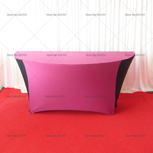 Special Design:6FT Round Half Moon Table Cover Purple & Black Hit Color Table Cover Spandex Table Cloth With Free Shipping(China)