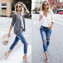Women Ladies Long Sleeve Jackets Waterfall Cardigan Coat Open Front Jackets Women Ladies Fasion Clothing(China)