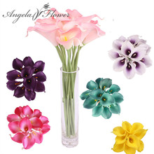 HI-Q 11PCS Artificial decorative flowers PU Real Touch 15 COLORS Mini Calla Lily for Wedding HOME table decoration for party