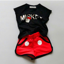 2017 Summer Children Girl Cartoon Minnie Mouse clothing Set Kids Boys clothes Set baby Short Sleeve T shirt+shorts/pant Suits