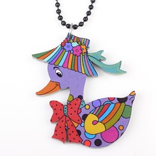 Bonsny duck necklace pendant acrylic 2015 news accessories spring summer cute animal design girls woman color fashion jewelry(China)