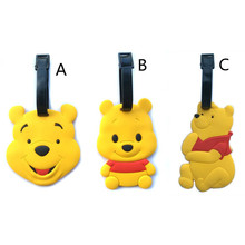 New Fashion Cute Bear Suitcase Luggage Tag Cartoon PVC ID Address Holder Baggage Label Silicone Identifier Travel Accessories