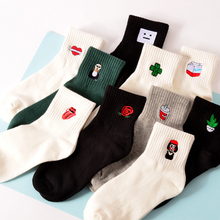 New Harajuku Funny Cartoon Black White Short Novelty Socks Women Milk Box Beard Rose Heart Radio Embroidery Cotton Socks 2017