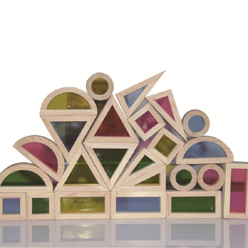 Super Creative Acrylic Rainbow Educational Toy Tower Pile of Building Blocks for Children Diy Wooden Assemblage Building Block<br><br>Aliexpress