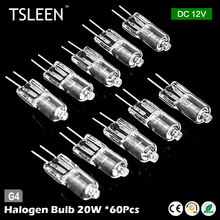 Cheap 60pcs/lot G4 Halogen Bulbs Lamp 12V 20W 3500K Cold White G4 Bulbs G4 Light G4 Chandelier Crystal lights Lamp(China)