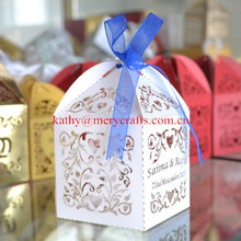 Customized and personalized white wedding favors candy boxes,laser cut small cake boxes