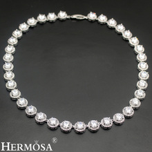 HERMOSA JEWELRY 925 Silver Womens Choker Sterling-Silver Necklace Shiny White Round Jewelry Fashion Party Dresses Lady Design(China)