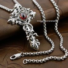 Dark Red CZ Stone Dragon Twine Pendant Solid 925 Sterling Silver Cool Men's Brass Cross Sword Pendant 8X003(China)