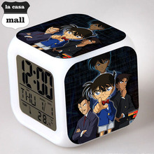 Japan Cartoon Detective Conan Case Closed LED Digital Alarm Clock reloj despertador Night Light Flash Watch horloge digitale
