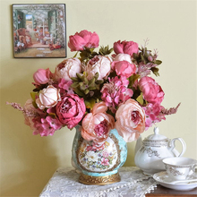 Lifelike High Quality Silk Flower European 1 Bouquet Artificial Flowers Festive Vivid Peony Wedding Home Party Decoration