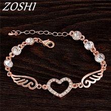 ZOSHI Heart wing Gold Color Chain Link Bracelet for Women Ladies Shining AAA Cubic Zircon Crystal Bracelets & Bangles(China)