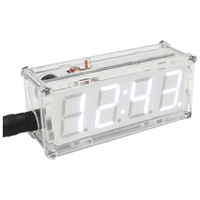 FJS-4-Digit DIY LED Electronic Clock Kit Microcontroller 0.8inch Digital Tube Clock with Thermometer Hourly Chime Function DIY