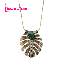 Kayshine 2016 New Costume Jewelry Necklace Long Bronze Chain Green Stone Feather Shape Pendant Necklace For Women Collier Femme