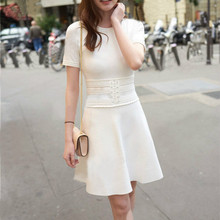 2017 autumn and winter new boutique women white OL knitted thin dress dress waist temperament cotton knitted dress S M L
