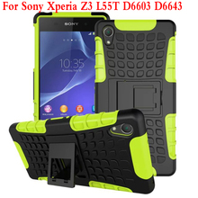 For Sony Xperia Z3 D6603 D6643 D6616 Case Heavy Duty Armor Kickstand Hybrid Hard Composite TPU ShockProof Cover