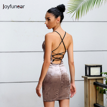 Joyfunear The New Women Mini Backless Dress 2017 Summer Fashion Sleeveless Condole Belt Sexy Night Club Brown Mini Dress(China)