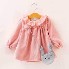 Baby Girls Corduroy Dress Winter Autumn Kids Tutu Dresses Bag Long-sleeved Baby Girl Toddler Clothing 2Pcs Children Clothes