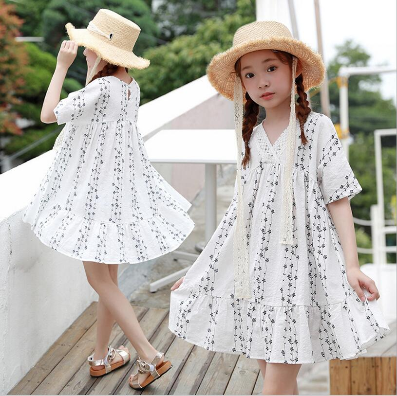 6-14y big girl dresses 2019 summer kids beach dresses fashion girls holiday dress cotton parint  kids princess clothing
