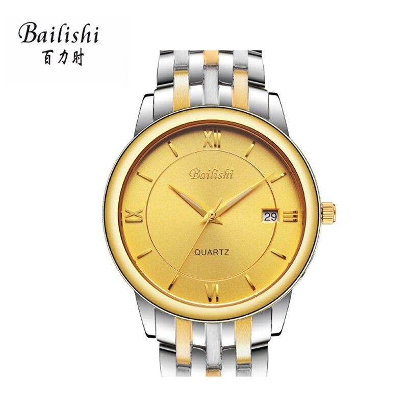 BAILISHI new gold quartz men watch stainless steel mens watches top brand luxurywaterproof male watchs <br>