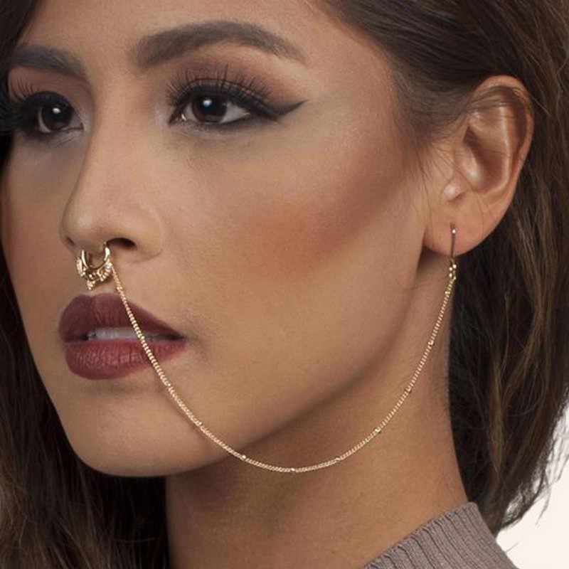 Gold Flower Fake Nose Ring Earring Set Hoop Ring Nose Fake Septum