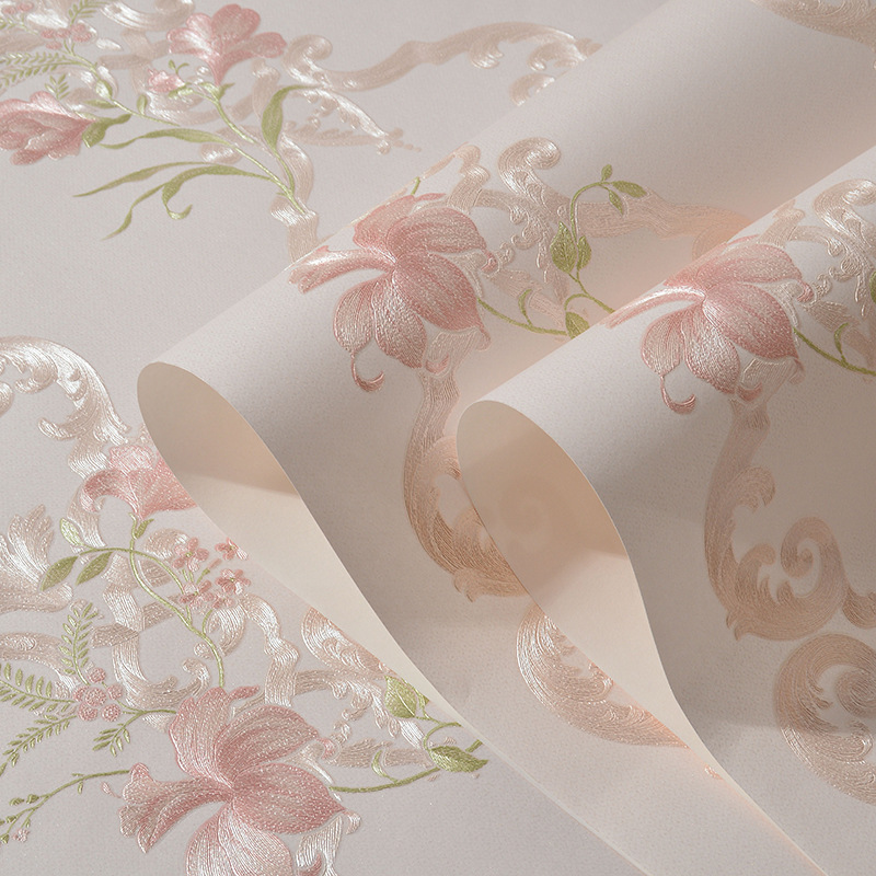 beibehang Pink flowers Non woven wallpaper for wall 3d pastoral bedroom Living room TV background wall papers home decor contact<br>