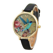Women Watches Fashion Blue Hummingbird Ladies Leather Band Analog Quartz Movement Wristwatch Watches Female Wholesale,Apr 26