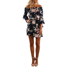 Buy Girls Dress 2017 Autumn Flowers Print Mini Dress Women Flare Half Sleeve Shoulder Dress Sexy Blue Short Vintage Dresses for $7.44 in AliExpress store