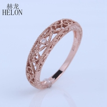 HELON Solid 10k Rose Gold SI/H Diamonds Vintage Band Filigree Art Nouveau Engraving Band Vintage Antique Women Engagement Ring