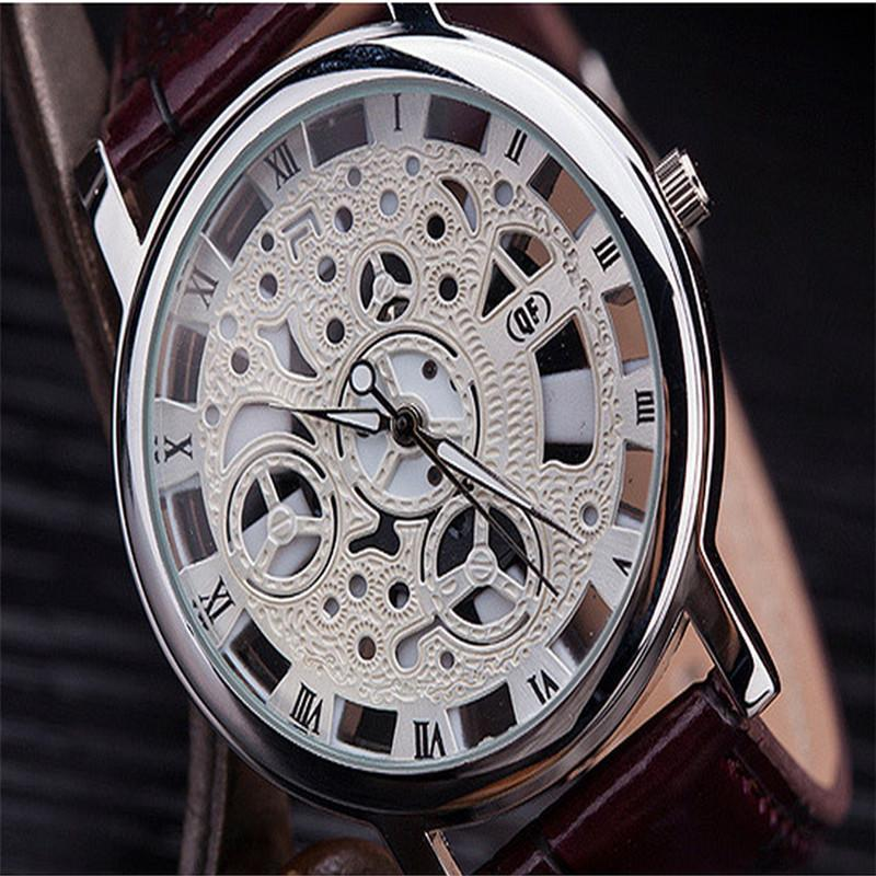 New PU Leather Strap High quality Couple Hollow out Dial Hand-winding Mechanical Watch Free shipping<br><br>Aliexpress