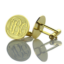 Wholesale Personalized Initial Groom Cufflinks Gold Color Men Monogram Cufflinks Wedding Cufflinks Monogrammed Jewelry(China)