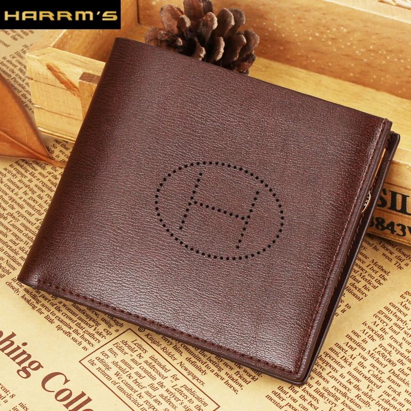 2017 Classical Designer Harrms Brand Short men wallets brown color Split leather with zipper and card holder<br><br>Aliexpress