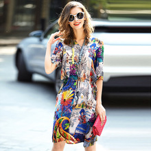 A3510105 Wholesale Europe and United States 2017 New Spring and summer Women Clothing A-line Print Dress 100% Silk Dress