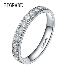 TIGRADE 3mm Black Rose Gold Titanium Ring Women Cubic Zirconia Engagement Rings Eternity Wedding Band Trendy Silver Jewellery(China)