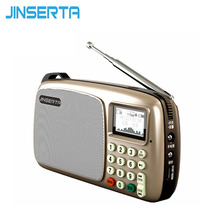 JINSERTA Mini Portable FM Radio Build-in Speakers MP3 Player LCD Screen Support TF card Playing LED Flashlight(China)