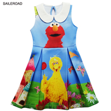 SAILEROAD Cartoon Sesame Street Elmo Julia Kids Baby Girls  Sleeveless Dress Children Girls Party Christmas Halloween Dress New