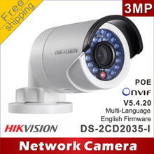 Free shipping Hikvision gun waterproof network camera DS-2CD2035-I repalce DS-2CD2032-I 3MP IR ip camera support POE cctv camera