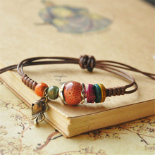 Fashion casual style original ceramic bronze adjustable handmade porcelain beads rope bracelets for women girl's gift he157(China)