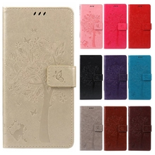 Leather case for coque Huawei Y5 2/Huawei Y5 II Case Cover for coque Huawei Y5 II Tree Pattern Mobile Phone bags+card holder(China)