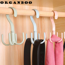 Creative plastic hooks shoe rack 360 degrees can be rotated 4 claws multi-purpose decorative shelves scarf racks organizer