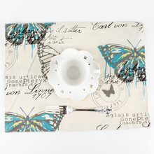 Butterfly Modern Coasters cotton insulation pad Kitchen Mat Dining Table Place Mats creative Home Furnishing placemats(China)