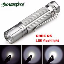 New DC 27 Shining Hot Selling 7W CREE Q5 LED Silver Mini Flashlight Torch Light 14500/AA Lamp Waterproof