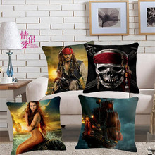 Modern Home Decorative throw pillows film Pirates of the Caribbean Pirate Ship Captain Jack Skull Mermaid Cushion Cover 45X45cm(China)