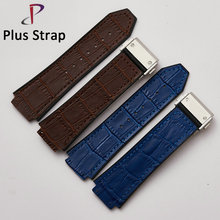Handmade Genuine Leather Watchband for Hublot Big Bang Accessories Watch Strap Soft Canvas Wristband Folding buckle 25 mm