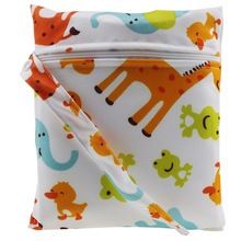 Baby  Wet/Dry Bag Waterproof  Printed TPU Diaper Wet Bag Washable Reusable Cloth diaper Nappies Bags Size 15*20cm