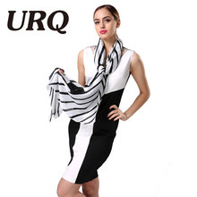 2016 Fashion Black White Ladies Scarves High Quality Silk Scarf Luxury Brand Design Bandana Accessories(China)