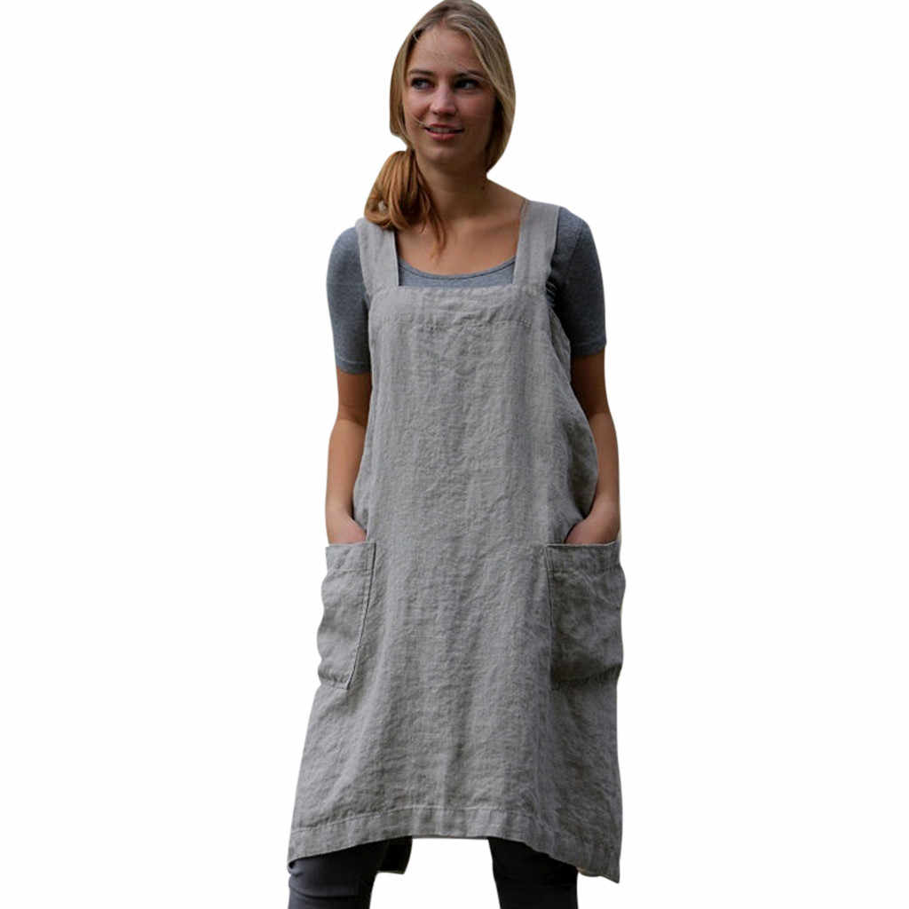 8e27202091 snowshine YLW Women Cotton Linen Pinafore Square Cross Apron Garden Work  Pinafore Dress free shipping