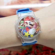 Free Shipping 10 Pcs/Lot Small Order Super Mario Cartoon Boy's Led Digital Watches With Color Lights Flashing And Calendar New