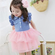 Cute Kids One Piece Dress Girls Ruffled Denim Gauze Tutu Clothes For 2-7Y 2 Colors
