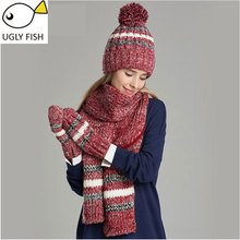woman winter hat and gloves sets cotton fashion women hat scarf gloves set solid hat and scarf set for women knitted(China)